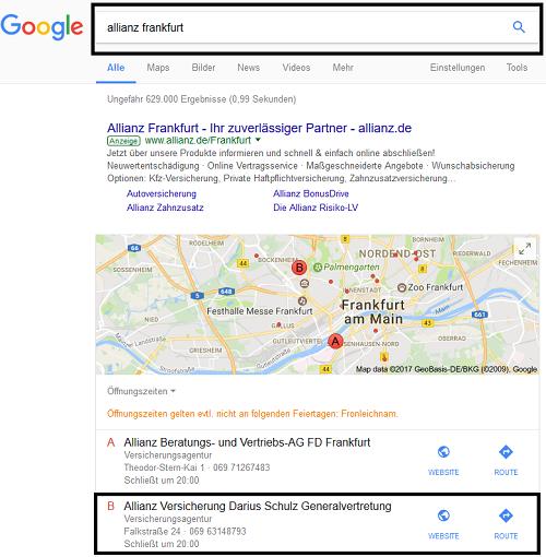 Mögliche Suchergebnisse durch LocalSeo Referenz Allianz Schulz Frankfurt